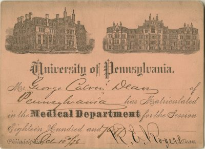 Matriculation ticket, George Calvin Dean, 1876-77
