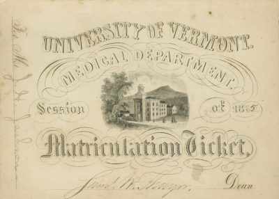 University of Vermont, Matriculation ticket, J.H. Jackson, 1865