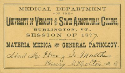 University of Vermont, medical lecture ticket, 1877