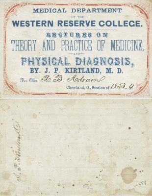 Western Reserve College (Case Western Reserve University School of Medicine), medical lecture ticket, 1853-54
