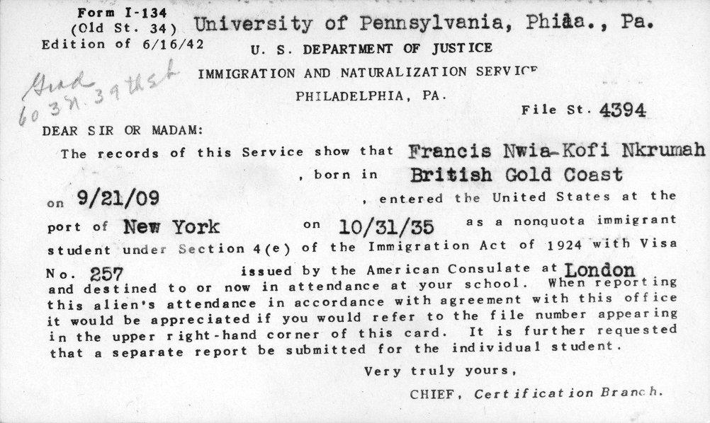 Kwame Nkrumah's student visa, 1935