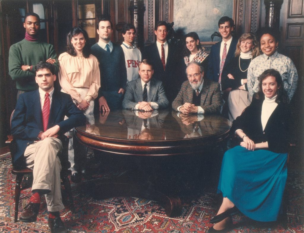 The authors and editors of A Pennsylvania Album in the Henry Charles Lea Library of the University of Pennsylvania. Seated at the table from left to right, James A. Bessin, Mark Frazier Lloyd, Richard Slator Dunn and Elizabeth A. Linck. Standing, from left to right, Marvin P. Lyon, Jr., Denise Pieczynski, Mark J. Drozdowski, Michael G. Dubrow, Andrew K. Becker, Lisa M. Silverman, Jonathan S. Bennett, Michelle A. Woodson, and Adele Cecelia Moore