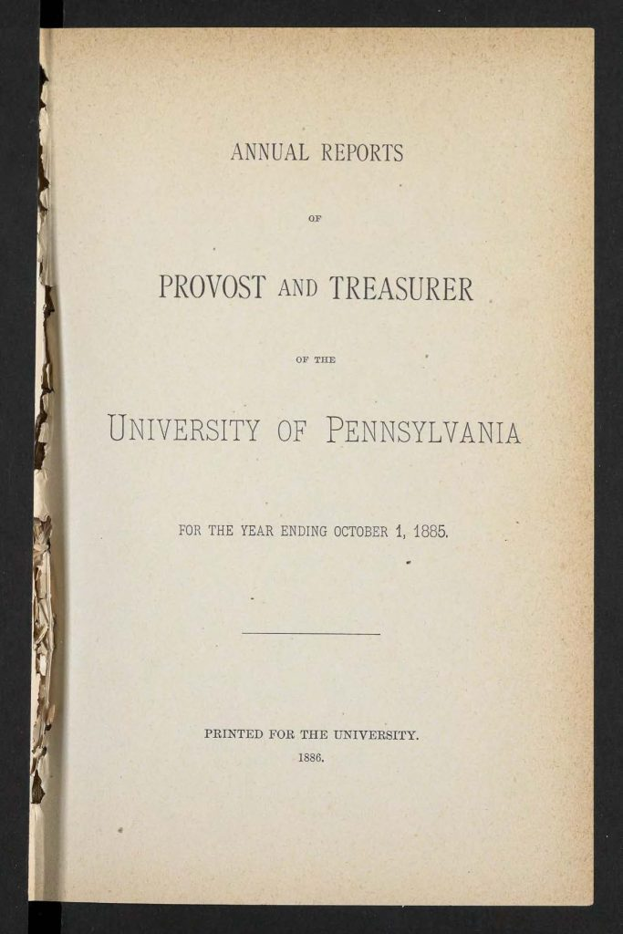 Provost Report, 1883-85, front page