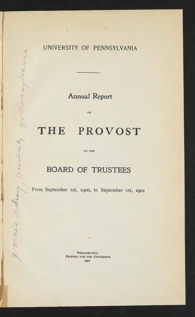 Provost Report, 1900-01, front page