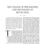 The College of Philadelphia and the Politics of Revolution, A Pennsylvania Album