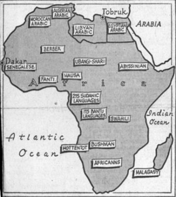 African language map, showing where principle languages are spoken, 1942