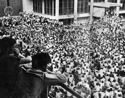 Antiwar protestors on College Hall after Nixon's announcement of United States involvement in Cambodia, 1970