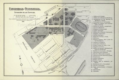 "Campus map, from ""La Universidad de Pennsylvania,"" an 1899 bulletin, 1899"