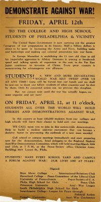 Demonstration of students against World War II, poster, 1940