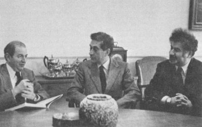 Domenico Fazio meets with President Martin Meyerson and Provost Vartan Gregorian, 1979
