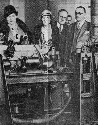 French visitors to Penn view remote control electric dynamometer, 1933