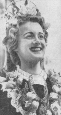 Swedish folk dancer, Mrs. Gunnel Henke, in ethnic costume, 1939