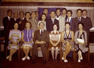 President Martin Meyerson and his wife Margery, entertained by the Hong Kong Alumni club, 1975
