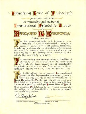 International Friendship Award to Gaylord P. Harnwell from International House, 1970