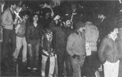 Iranian students protesting outside Houston Hall, 1980