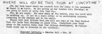 Indian Students Association, Fast for India to raise money for India, flyer, 1962