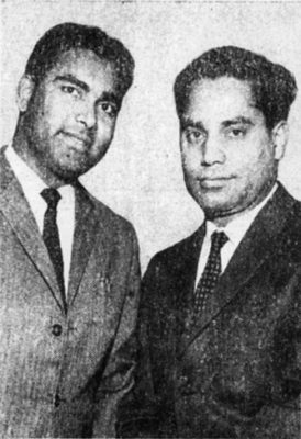 Indian Students Association, Penn students Kathirisetti Mukundarao (left) and Jaipaul, 1962