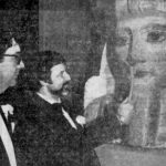 "Martin Biddle, University Museum director, and Abdullah Fouad Hafez, Egyptian consul general, open the ""Search for Ancient Egypt"" exhibit at the University Museum, 1979"