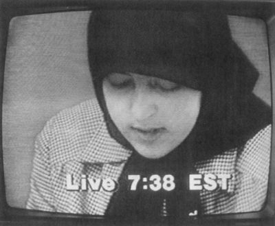 "'Mary' (Nilofar Ebtekar) appearing live from Teheran on NBC's ""Today"" show, April 10, 1980"