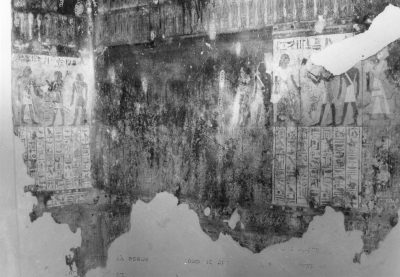 Memphis, Egypt excavations: two outside panels of a funerary scene in the tomb of the high priest Bekenkhons, 1973