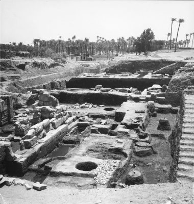 Memphis, Egypt excavations by University of Pennsylvania archeological team, panoramic view, 1973
