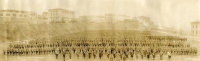 Military training detachment from the University of Pennsylvania, panoramic group photograph, 1918