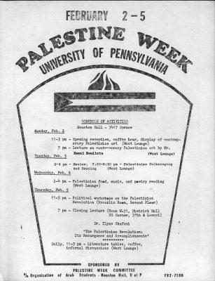 Palestine Week, poster, 1974