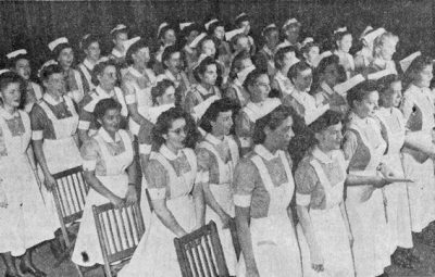 School of Nursing (University Hospital) student chorus takes part in a chapel service commemorating the end of war in the Pacific, 1945
