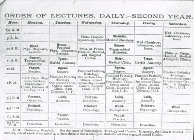 Printed roster of second year courses, Medical Class of 1889, 1887