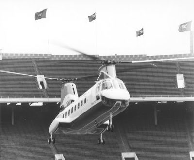 Shah of Iran, Mohammad Reza Pahlavi (1919-1980), LL.D. (hon.) 1962: his helicopter arriving in Franklin Field, 1962