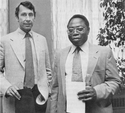Penn President Sheldon Hackney with Vice Chancellor S. Olajuwon Olayide, of University of Nigeria at Ibadan, 1981