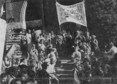 Student rally against Penn investment in South Africa, held by the Anti-Apartheid Coalition and 250 to 300 others, 1985