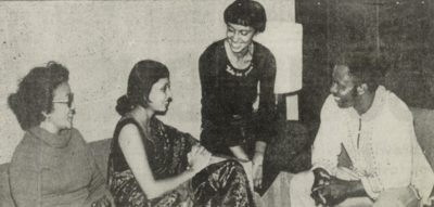 Foreign students in lobby of International House, 1977