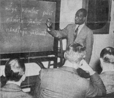 Swahili instructor Joseph Lengo teaches a class, 1942