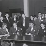 Foreign students with John F. Melby, Director of Foreign Students, at a reception and tea for foreign students , 1960