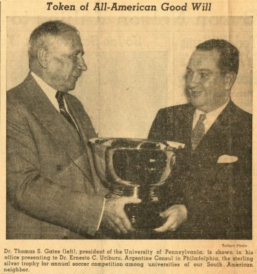Thomas S. Gates presents Dr. Ernesto C. Uriburu, Argentine consul in Philadelphia, with Paul Revere Award for annual soccer competition in South America, 1941