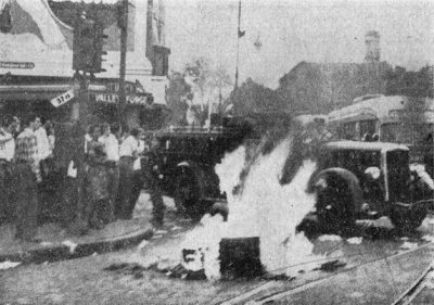 V-J Day on campus. Students and others created a bonfire at 37th St. and Woodland Ave. after declaration of the end of the war in the Pacific, 1945