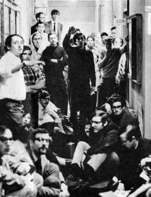 [Vietnam War protesters in Logan Hall (was Medical Hall, now Claudia Cohen Hall), 1967