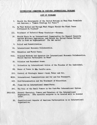 Universities Committee on Post-War International Problems, List of Problems, 1943