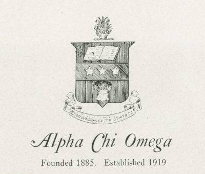 Alpha Chi Omega, sorority, insignia, 1922