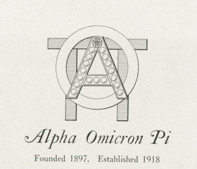 Alpha Omicron Pi, sorority, insignia, 1922