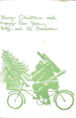 Alfred Bendiner, Bike Christmas card, 1950