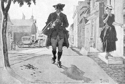 Benjamin Franklin when he first arrived in Philadelphia in 1723, watercolor