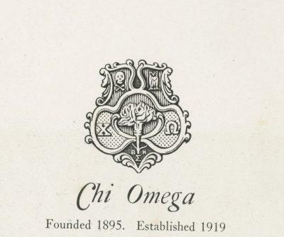 Chi Omega, sorority, insignia, 1922