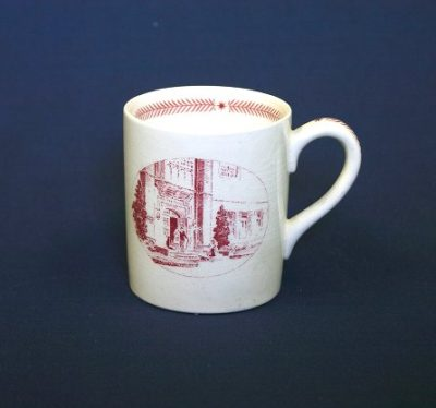 Wedgwood china, cup depicting Bennett Hall Entrance, 1940