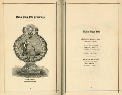 Delta Beta Phi, Sigma chapter fraternity, 1879