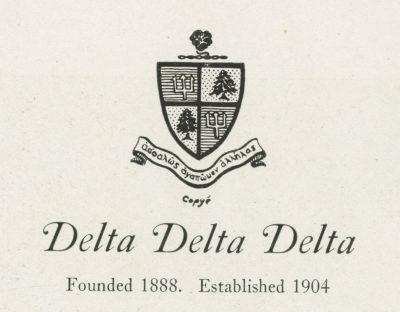 Delta Delta Delta, sorority, insignia, 1922