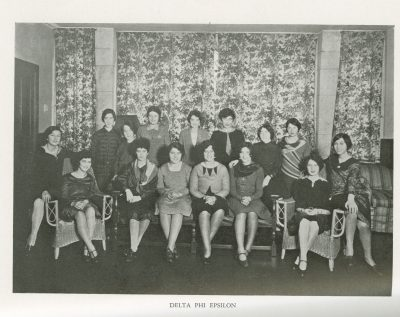 Delta Phi Epsilon, sorority, group photograph, 1929