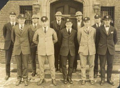 Delta Upsilon fraternity, group photograph, 1920