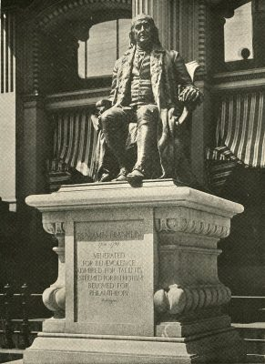 Statue of Benjamin Franklin by John J. Boyle at its original location in front of the old Post Office building at 9th and Chestnut Streets